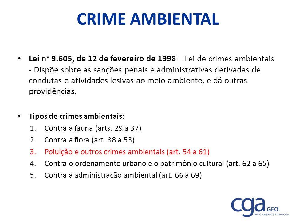 CRIME AMBIENTAL Lei n° 9.605, de 12 de fevereiro de 1998 – Lei de crimes ambientais - Dispõe sobre as sanções penais e administrativas derivadas de co
