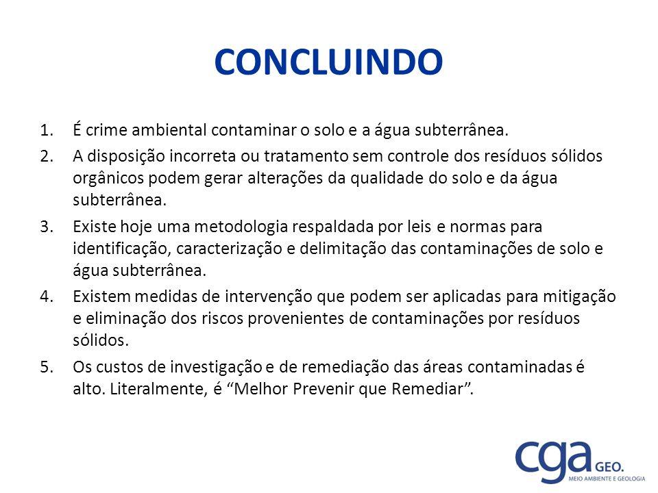CONCLUINDO 1.É crime ambiental contaminar o solo e a água subterrânea. 2.A disposição incorreta ou tratamento sem controle dos resíduos sólidos orgâni
