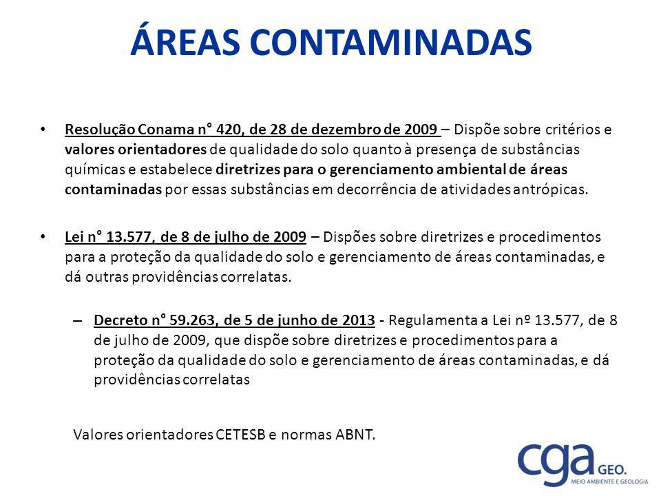 ÁREAS CONTAMINADAS Resolução Conama n° 420, de 28 de dezembro de 2009 – Dispõe sobre critérios e valores orientadores de qualidade do solo quanto à pr