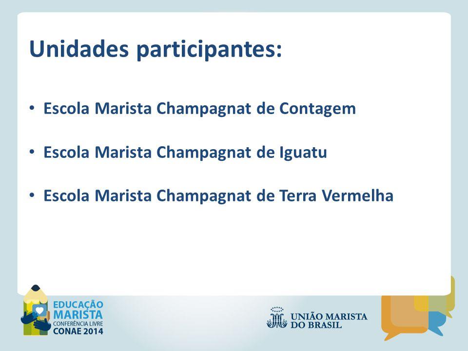 Unidades participantes: Escola Marista Champagnat de Contagem Escola Marista Champagnat de Iguatu Escola Marista Champagnat de Terra Vermelha