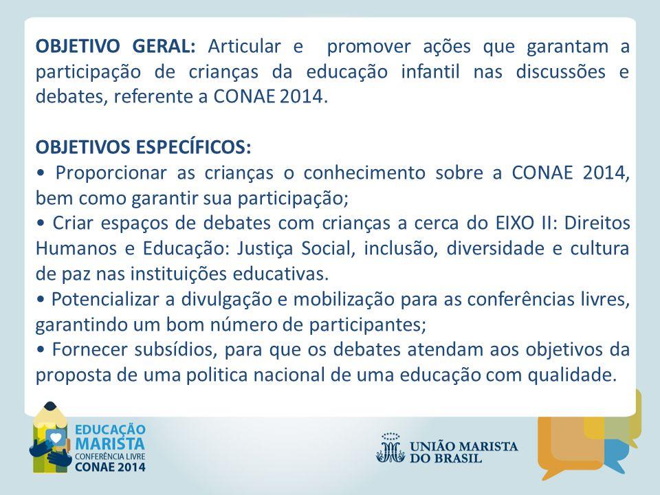 OBJETIVO GERAL: Articular e promover ações que garantam a participação de crianças da educação infantil nas discussões e debates, referente a CONAE 20