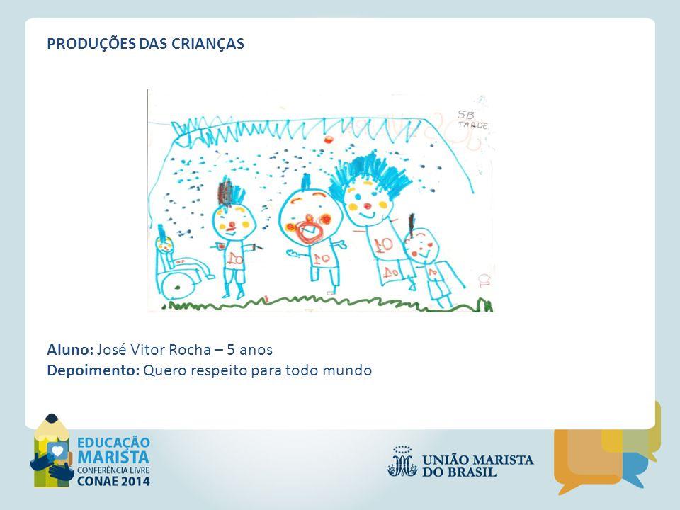 PRODUÇÕES DAS CRIANÇAS Aluno: Maria Meiriane Almeida Depoimento: Uma escola que as pessoas ajudem as outras, que tenha comida para crescer, que respeite e cuide bem.