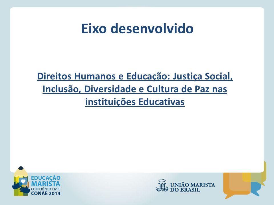 Eixo desenvolvido Direitos Humanos e Educação: Justiça Social, Inclusão, Diversidade e Cultura de Paz nas instituições Educativas