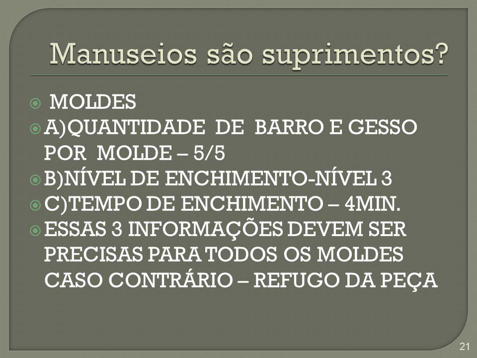  MOLDES  A)QUANTIDADE DE BARRO E GESSO POR MOLDE – 5/5  B)NÍVEL DE ENCHIMENTO-NÍVEL 3  C)TEMPO DE ENCHIMENTO – 4MIN.  ESSAS 3 INFORMAÇÕES DEVEM S