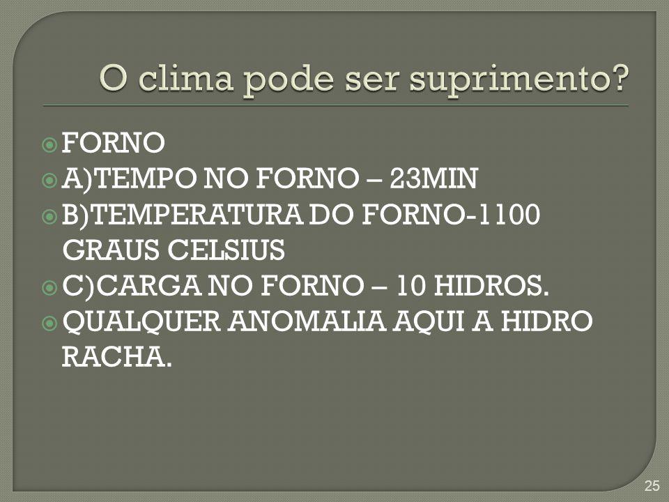 FORNO  A)TEMPO NO FORNO – 23MIN  B)TEMPERATURA DO FORNO-1100 GRAUS CELSIUS  C)CARGA NO FORNO – 10 HIDROS.  QUALQUER ANOMALIA AQUI A HIDRO RACHA.