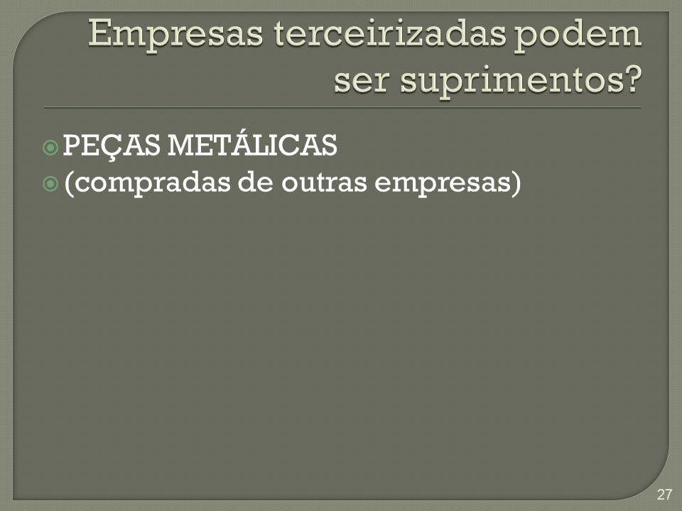  PEÇAS METÁLICAS  (compradas de outras empresas) 27