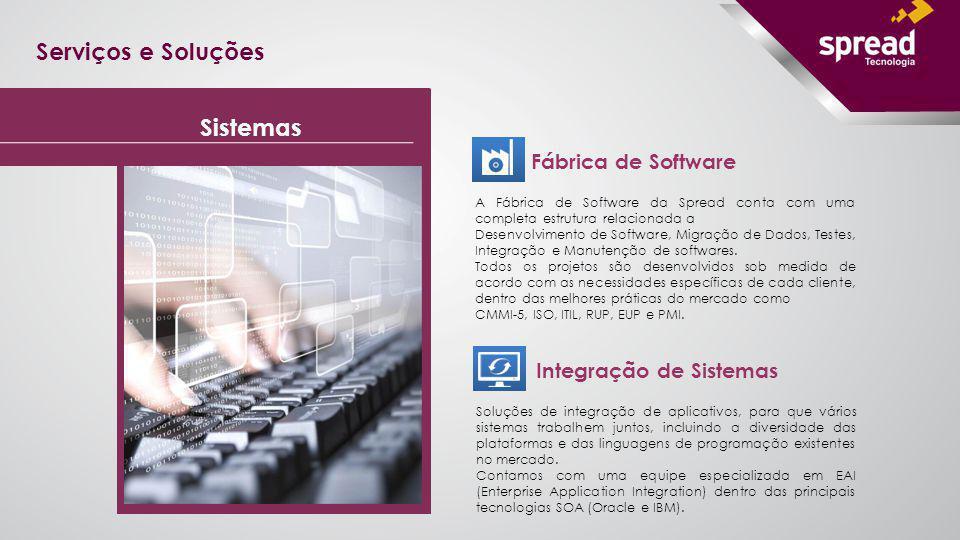 Serviços e Soluções Fábrica de Software A Fábrica de Software da Spread conta com uma completa estrutura relacionada a Desenvolvimento de Software, Mi