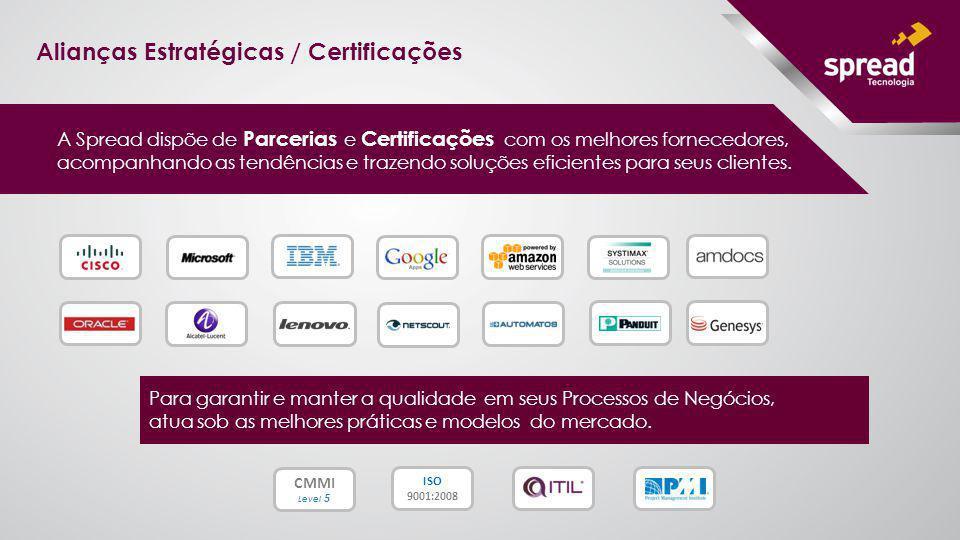 Alianças Estratégicas / Certificações A Spread dispõe de Parcerias e Certificações com os melhores fornecedores, acompanhando as tendências e trazendo