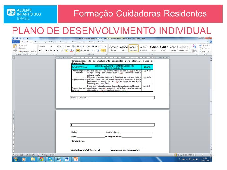 Formação Cuidadoras Residentes PLANO DE DESENVOLVIMENTO INDIVIDUAL