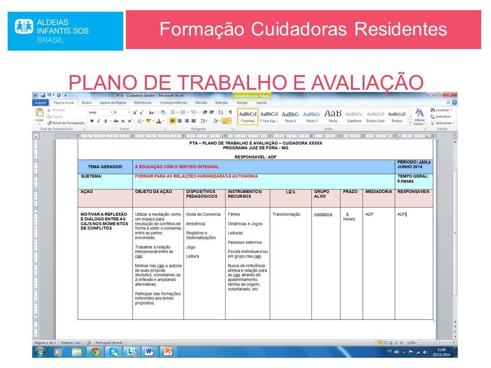 Formação Cuidadoras Residentes PLANO DE TRABALHO E AVALIAÇÃO