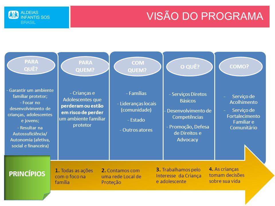 VISÃO DO PROGRAMA -Serviço de Acolhimento -Serviço de Fortalecimento Familiar e Comunitário COMO? - Serviços Diretos Básicos - Desenvolvimento de Comp