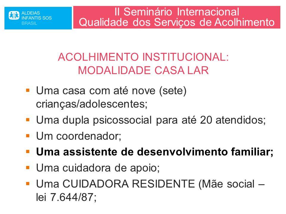 II Seminário Internacional Qualidade dos Serviços de Acolhimento  Uma casa com até nove (sete) crianças/adolescentes;  Uma dupla psicossocial para a