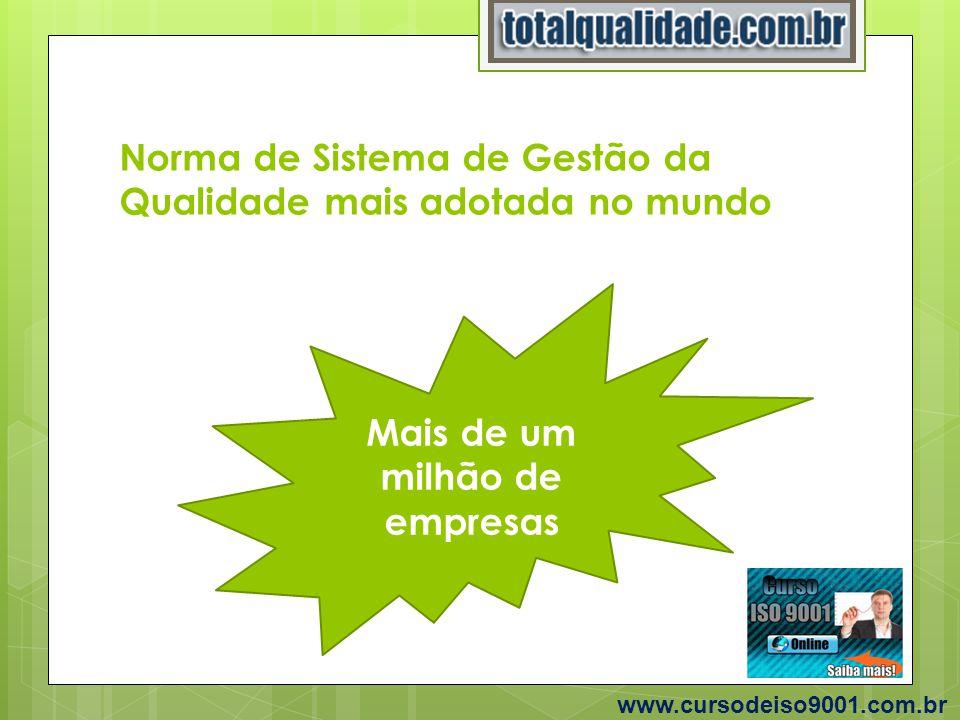 Norma de Sistema de Gestão da Qualidade mais adotada no mundo Mais de um milhão de empresas www.cursodeiso9001.com.br