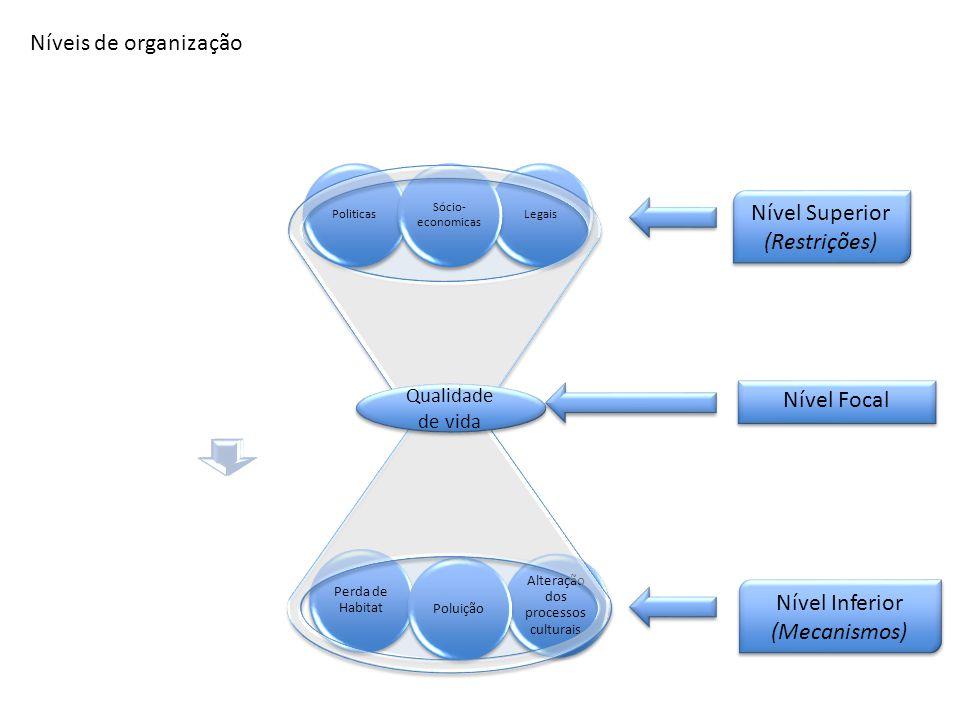 LegaisPoliticas Sócio- economicas Alteração dos processos culturais Perda de Habitat Poluição Níveis de organização Nível Superior (Restrições) Nível Superior (Restrições) Nível Focal Nível Inferior (Mecanismos) Nível Inferior (Mecanismos) Qualidade de vida