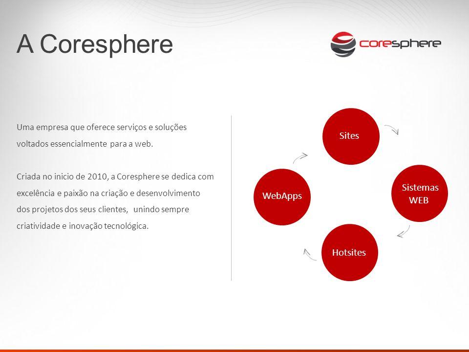 Uma empresa que oferece serviços e soluções voltados essencialmente para a web. Criada no inicio de 2010, a Coresphere se dedica com excelência e paix