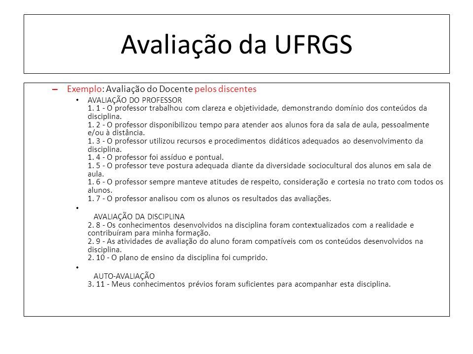 Avaliação da UFRGS – Exemplo: Avaliação do Docente pelos discentes AVALIAÇÃO DO PROFESSOR 1.