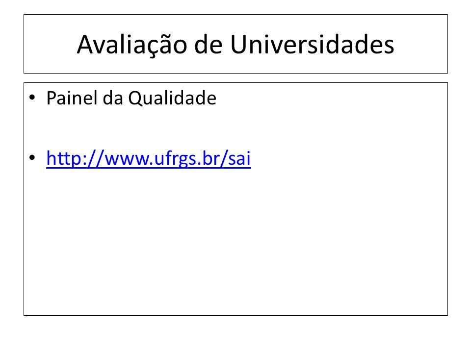 Avaliação de Universidades Painel da Qualidade http://www.ufrgs.br/sai