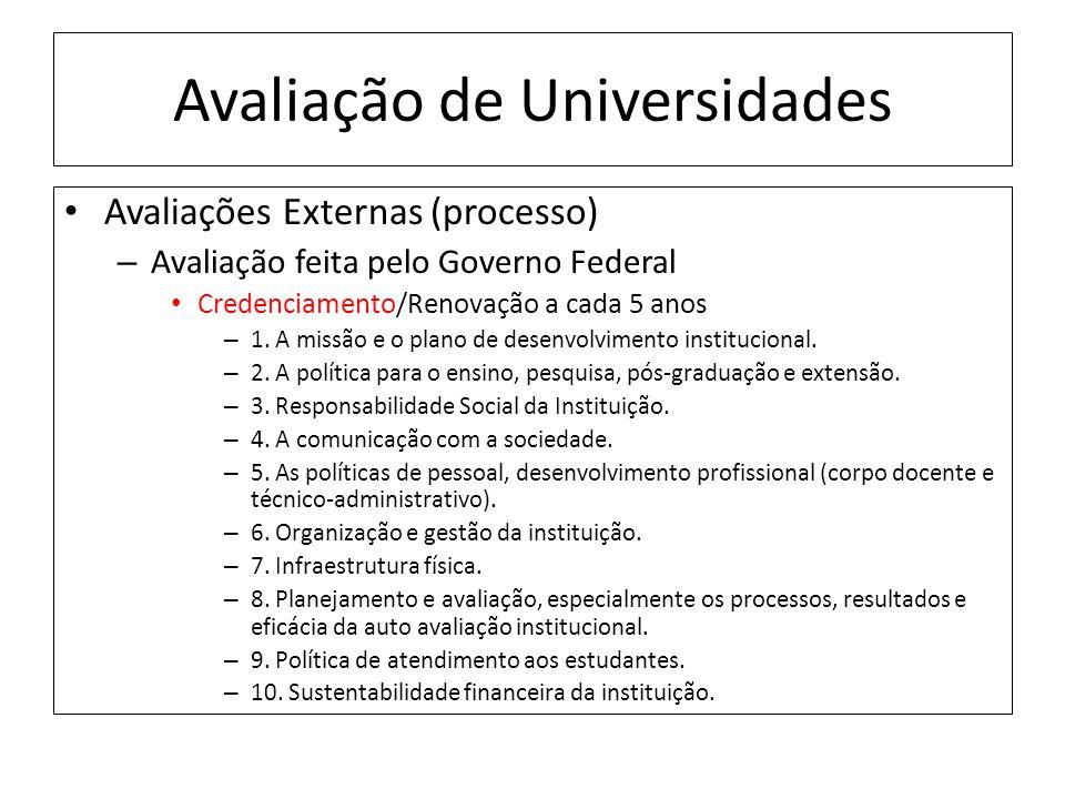Avaliação de Universidades Avaliações Externas (processo) – Avaliação feita pelo Governo Federal Credenciamento/Renovação a cada 5 anos – 1.