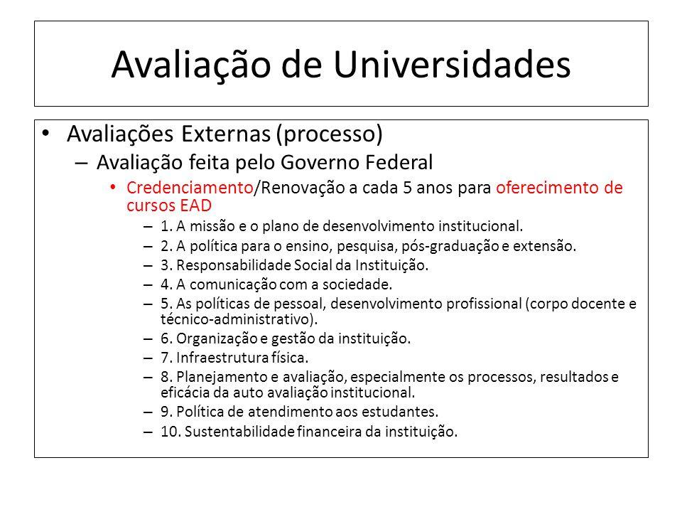 Avaliação de Universidades Avaliações Externas (processo) – Avaliação feita pelo Governo Federal Credenciamento/Renovação a cada 5 anos para oferecimento de cursos EAD – 1.
