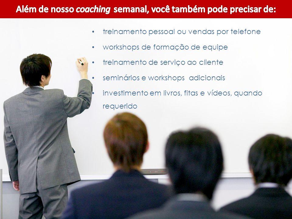 treinamento pessoal ou vendas por telefone workshops de formação de equipe treinamento de serviço ao cliente seminários e workshops adicionais investimento em livros, fitas e vídeos, quando requerido