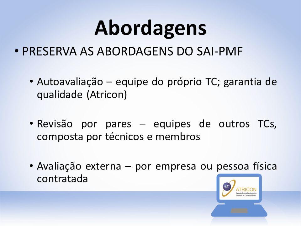 Abordagens PRESERVA AS ABORDAGENS DO SAI-PMF Autoavaliação – equipe do próprio TC; garantia de qualidade (Atricon) Revisão por pares – equipes de outr