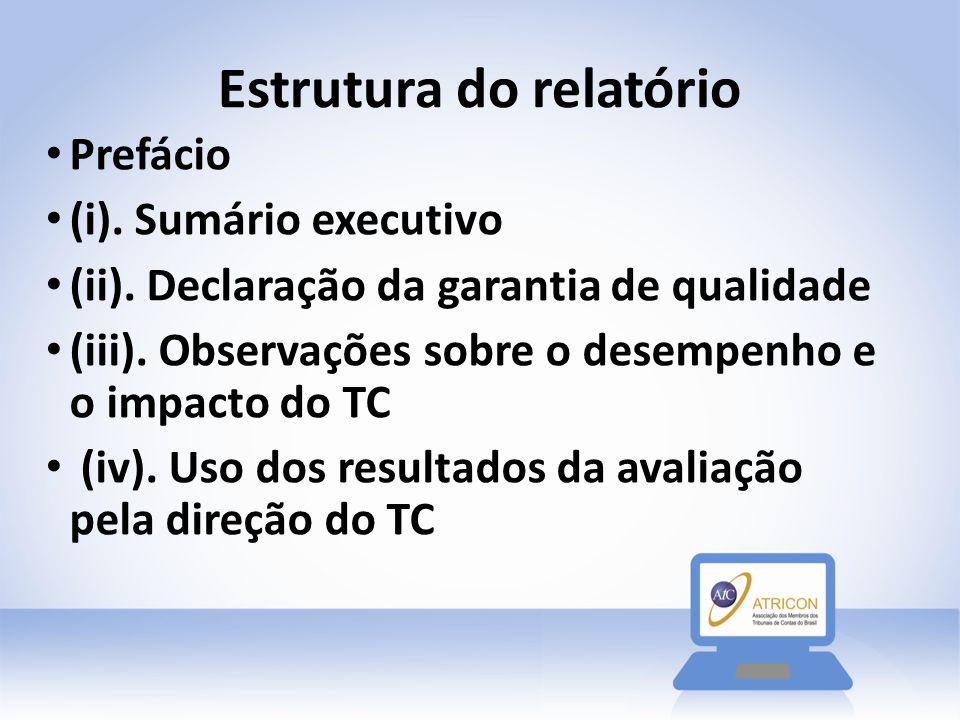 Estrutura do relatório Prefácio (i). Sumário executivo (ii). Declaração da garantia de qualidade (iii). Observações sobre o desempenho e o impacto do
