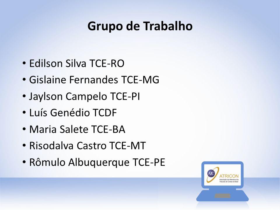 Grupo de Trabalho Edilson Silva TCE-RO Gislaine Fernandes TCE-MG Jaylson Campelo TCE-PI Luís Genédio TCDF Maria Salete TCE-BA Risodalva Castro TCE-MT