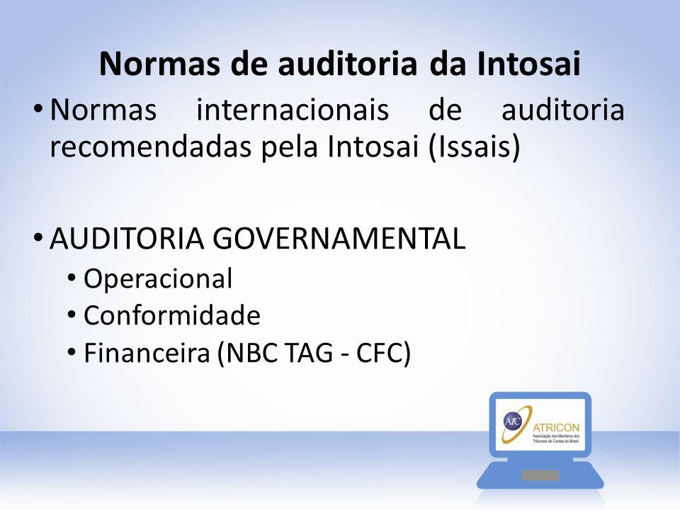 Normas de auditoria da Intosai Normas internacionais de auditoria recomendadas pela Intosai (Issais) AUDITORIA GOVERNAMENTAL Operacional Conformidade