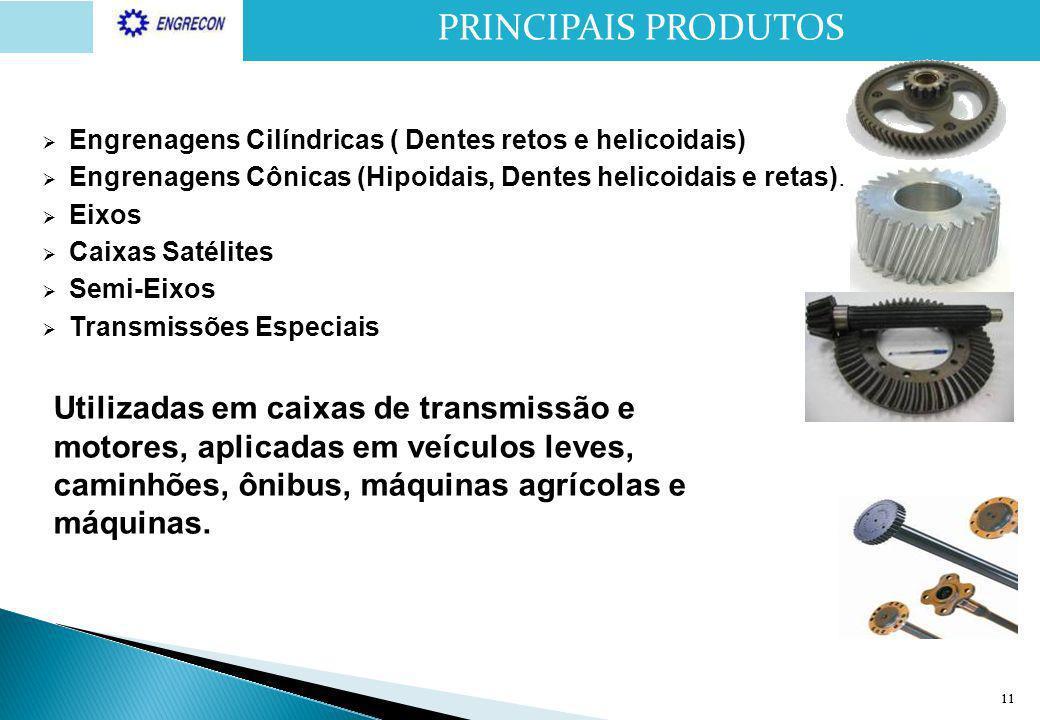 11  Engrenagens Cilíndricas ( Dentes retos e helicoidais)  Engrenagens Cônicas (Hipoidais, Dentes helicoidais e retas).  Eixos  Caixas Satélites 