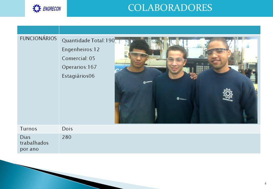 4 COLABORADORES FUNCIONÁRIOS Quantidade Total:190 Engenheiros:12 Comercial: 05 Operarios:167 Estagiários06 TurnosDois Dias trabalhados por ano 280