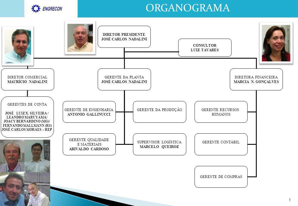 5 ORGANOGRAMA DIRETOR PRESIDENTE JOSÉ CARLOS NADALINI DIRETOR COMERCIAL MAURÍCIO NADALINI GERENTE DA PLANTA JOSÉ CARLOS NADALINI DIRETORA FINANCEIRA M