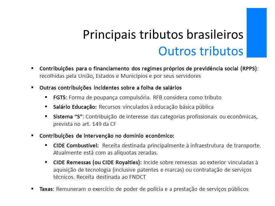 Principais tributos brasileiros Outros tributos  Contribuições para o financiamento dos regimes próprios de previdência social (RPPS): recolhidas pel