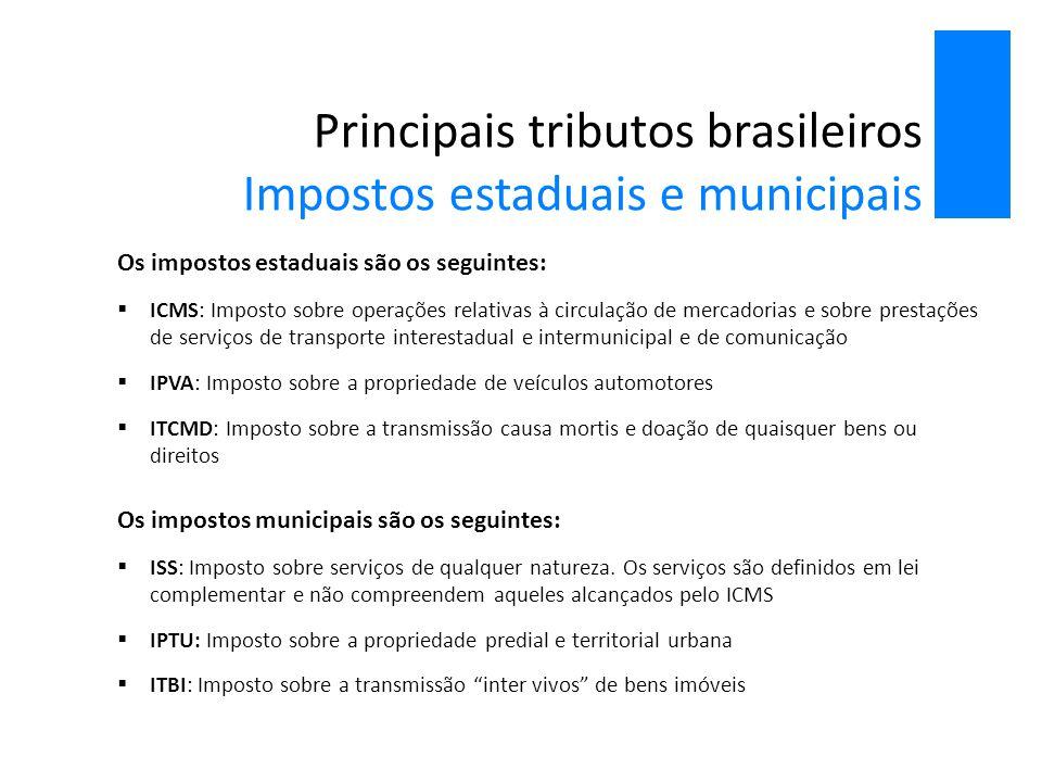 Principais tributos brasileiros Impostos estaduais e municipais (2012)