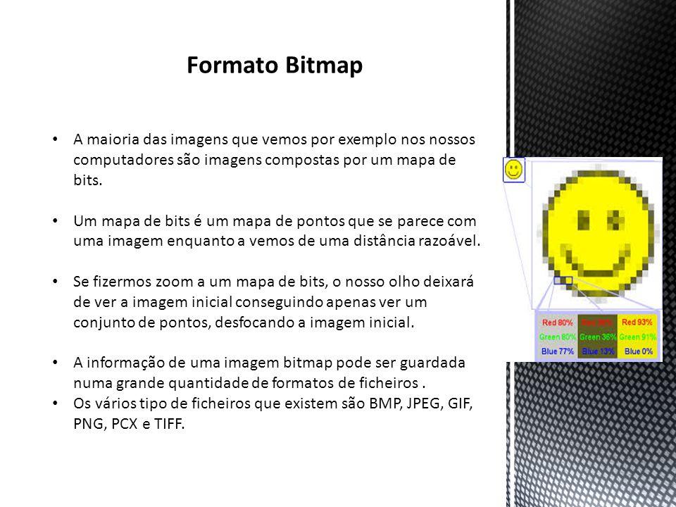 Programas Imagens Bitmap As imagens criadas com programas bitmap são constituídas por uma grelha de pequenos quadrados chamados píxeis.