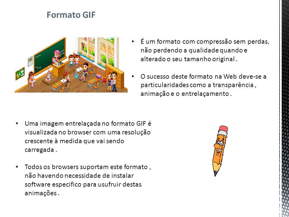 Formato GIF É um formato com compressão sem perdas, não perdendo a qualidade quando e alterado o seu tamanho original.