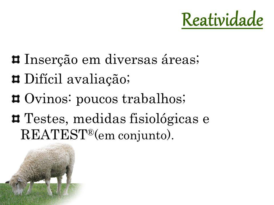 Inserção em diversas áreas; Difícil avaliação; Ovinos: poucos trabalhos; Testes, medidas fisiológicas e REATEST ® (em conjunto). Reatividade
