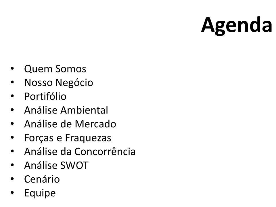 Quem Somos Nosso Negócio Portifólio Análise Ambiental Análise de Mercado Forças e Fraquezas Análise da Concorrência Análise SWOT Cenário Equipe Agenda