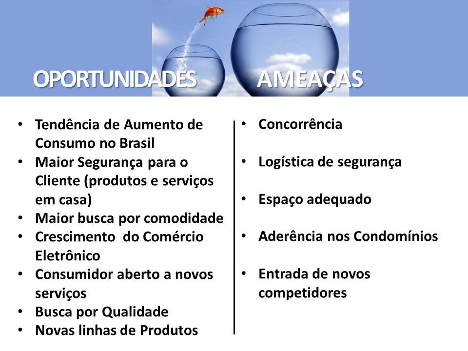 Tendência de Aumento de Consumo no Brasil Maior Segurança para o Cliente (produtos e serviços em casa) Maior busca por comodidade Crescimento do Comér