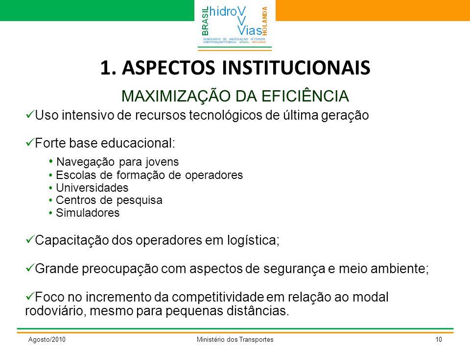 1. ASPECTOS INSTITUCIONAIS MAXIMIZAÇÃO DA EFICIÊNCIA Agosto/2010Ministério dos Transportes10 Uso intensivo de recursos tecnológicos de última geração