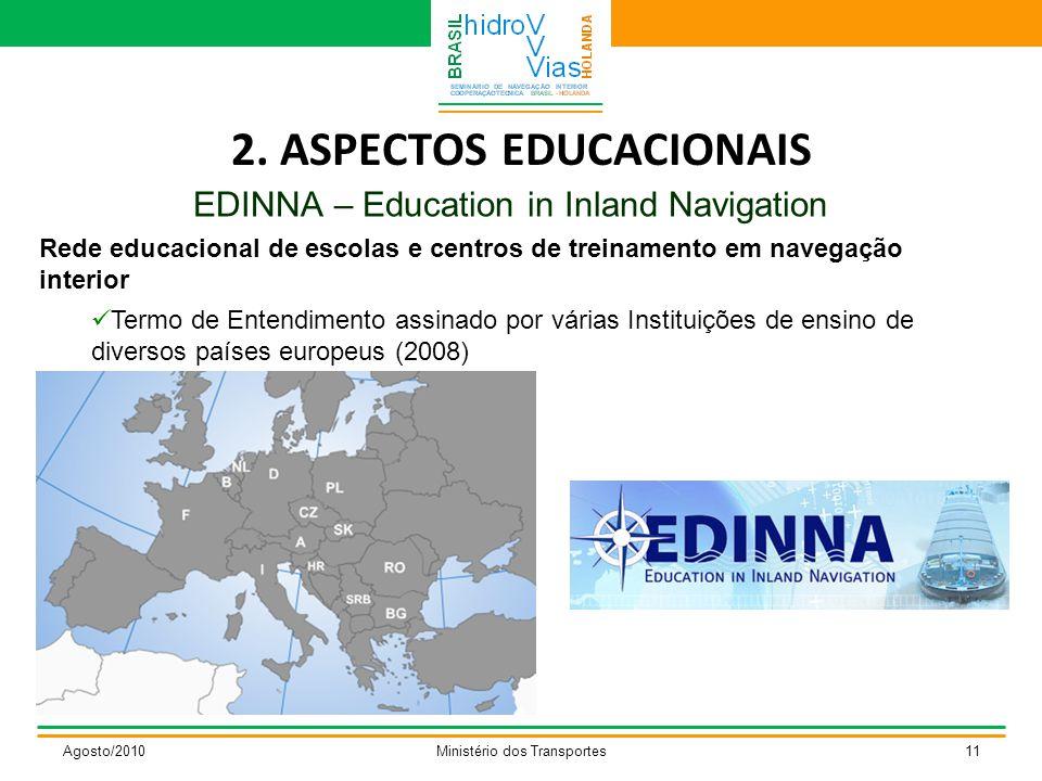 2. ASPECTOS EDUCACIONAIS EDINNA – Education in Inland Navigation Agosto/2010Ministério dos Transportes11 Rede educacional de escolas e centros de trei
