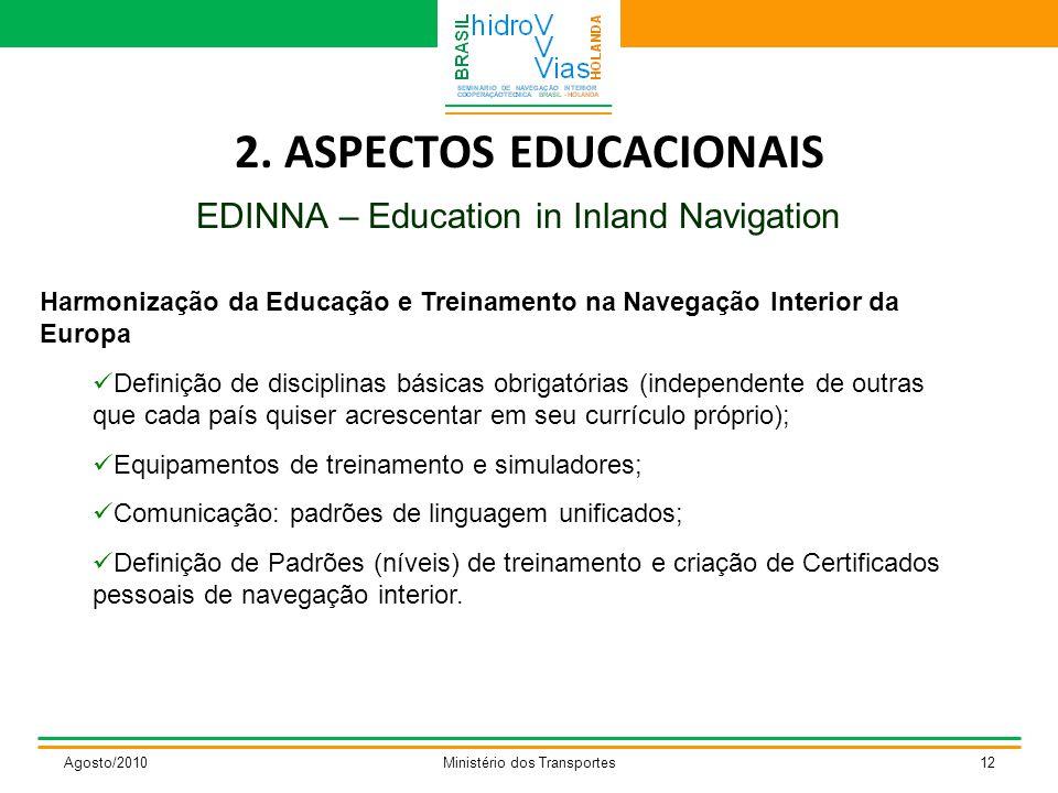 2. ASPECTOS EDUCACIONAIS EDINNA – Education in Inland Navigation Agosto/2010Ministério dos Transportes12 Harmonização da Educação e Treinamento na Nav