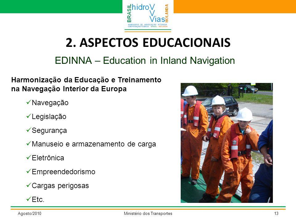 2. ASPECTOS EDUCACIONAIS EDINNA – Education in Inland Navigation Agosto/2010Ministério dos Transportes13 Harmonização da Educação e Treinamento na Nav