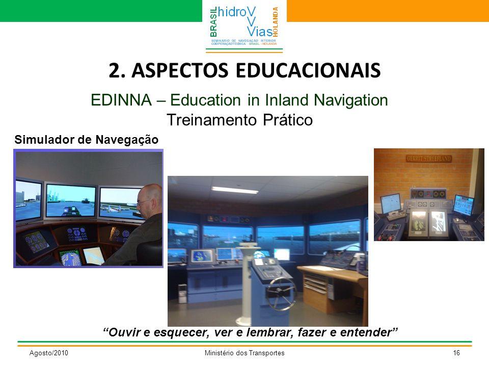 "2. ASPECTOS EDUCACIONAIS EDINNA – Education in Inland Navigation Treinamento Prático Agosto/2010Ministério dos Transportes16 ""Ouvir e esquecer, ver e"