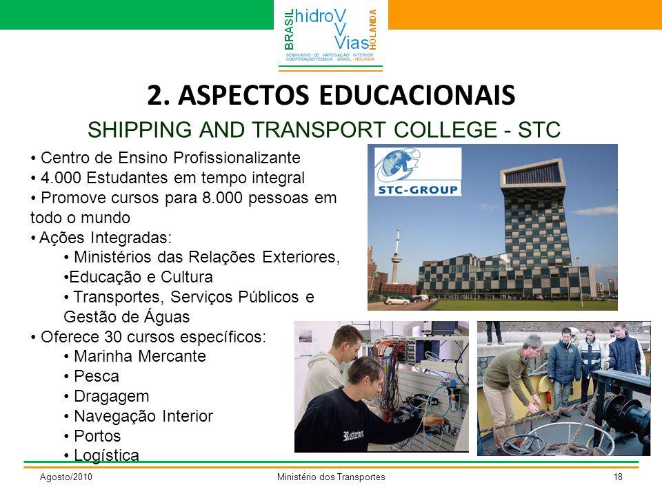 2. ASPECTOS EDUCACIONAIS SHIPPING AND TRANSPORT COLLEGE - STC Agosto/2010Ministério dos Transportes18 Centro de Ensino Profissionalizante 4.000 Estuda