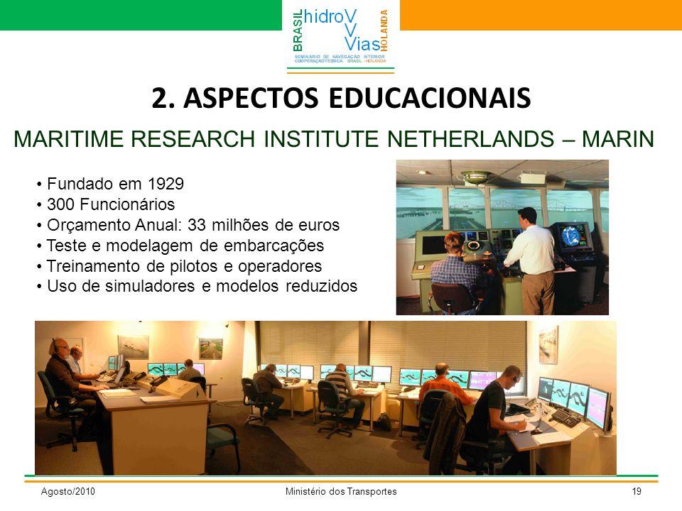 2. ASPECTOS EDUCACIONAIS MARITIME RESEARCH INSTITUTE NETHERLANDS – MARIN Agosto/2010Ministério dos Transportes19 Fundado em 1929 300 Funcionários Orça