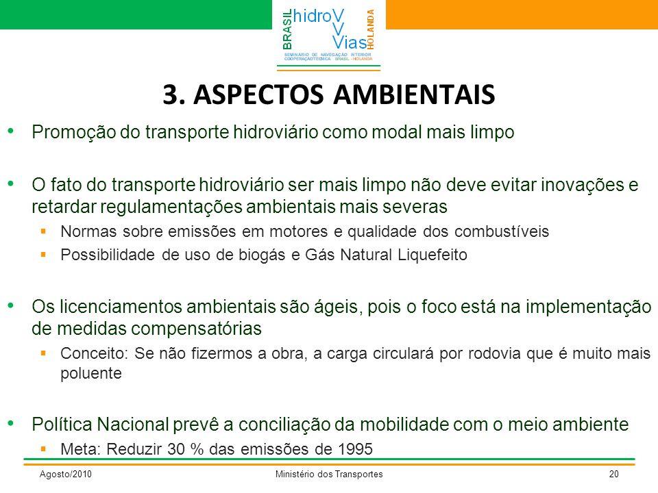 3. ASPECTOS AMBIENTAIS Promoção do transporte hidroviário como modal mais limpo O fato do transporte hidroviário ser mais limpo não deve evitar inovaç