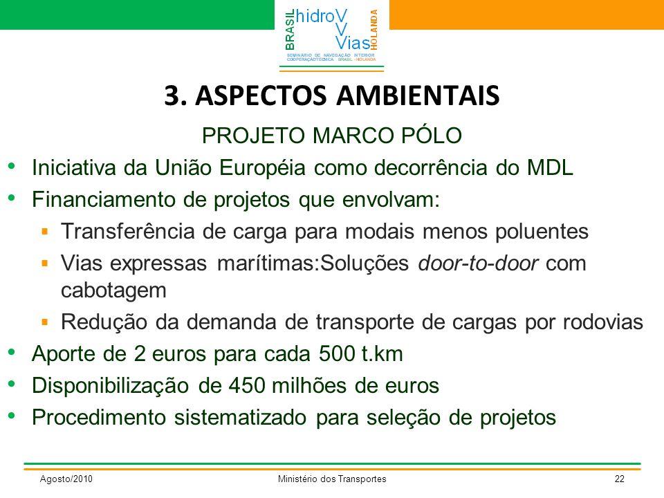 3. ASPECTOS AMBIENTAIS PROJETO MARCO PÓLO Iniciativa da União Européia como decorrência do MDL Financiamento de projetos que envolvam:  Transferência