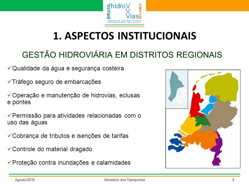 1. ASPECTOS INSTITUCIONAIS GESTÃO HIDROVIÁRIA EM DISTRITOS REGIONAIS Agosto/2010Ministério dos Transportes6 Qualidade da água e segurança costeira Trá