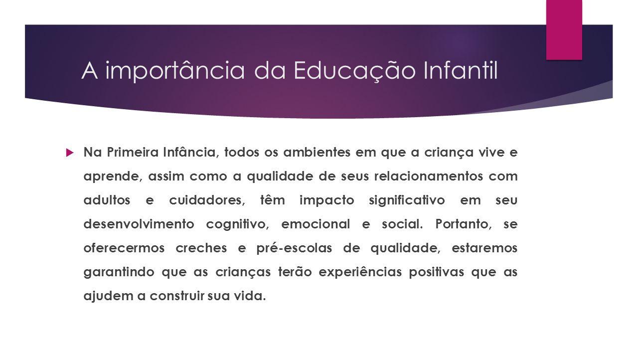 A importância da Educação Infantil  Na Primeira Infância, todos os ambientes em que a criança vive e aprende, assim como a qualidade de seus relacion