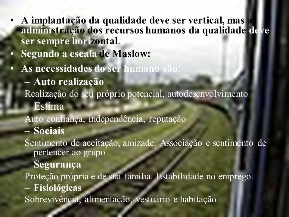 A implantação da qualidade deve ser vertical, mas a administração dos recursos humanos da qualidade deve ser sempre horizontal.
